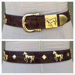 Vintage horse embellished belt